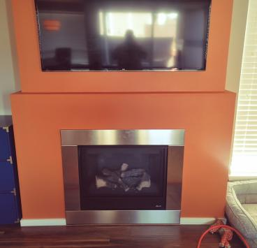 Fireplace mantle install, Bothell