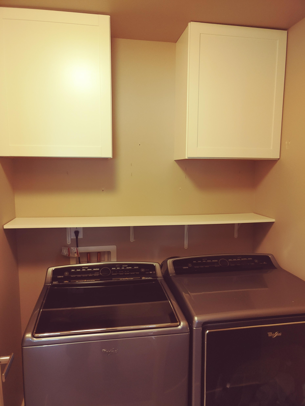 Laundry room shelf and cabinets, Bothell