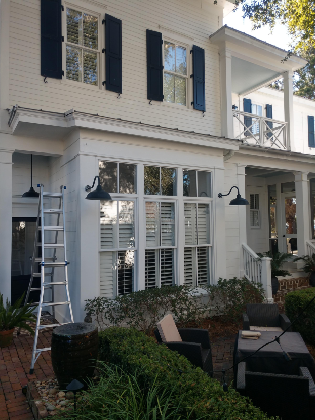 Patio in Beaufort before string lights