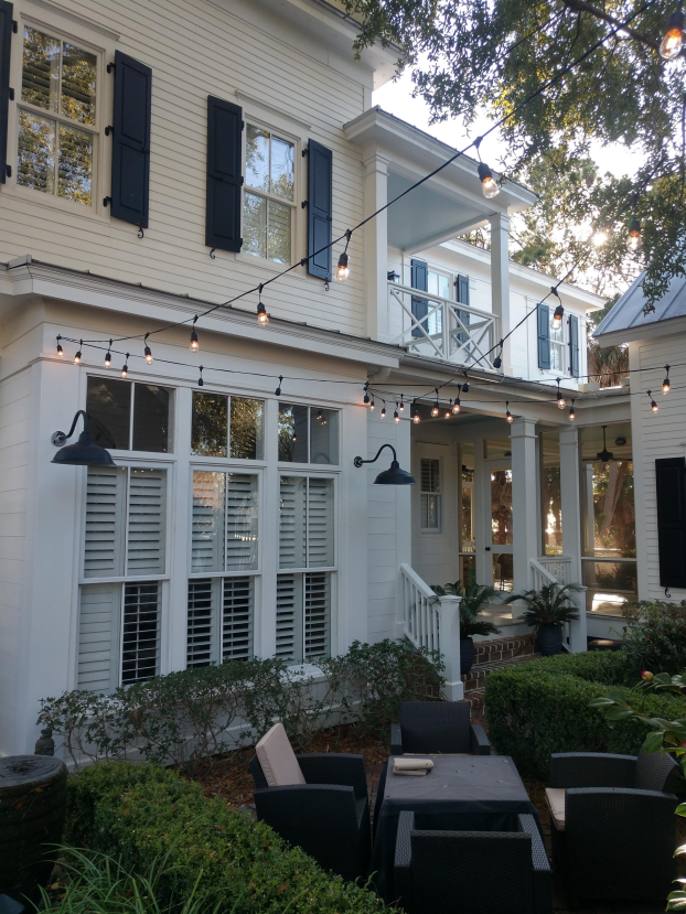 Patio with new string lights in Beaufort
