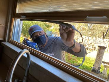 Craftsman Repairing Window Weather Stripping in Tallahassee