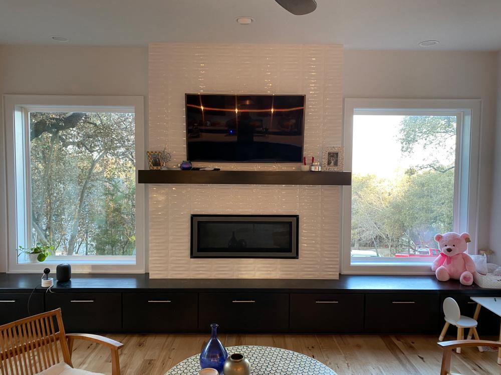 TV Mounted Over Subway Tile