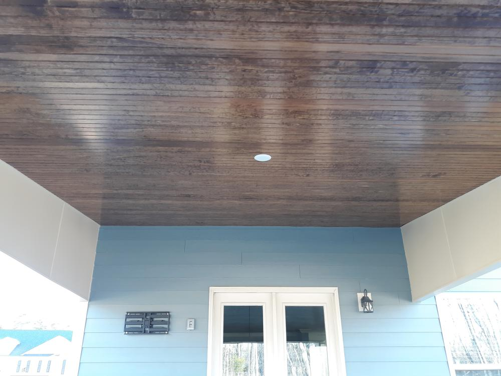 Tongue and groove ceiling finished