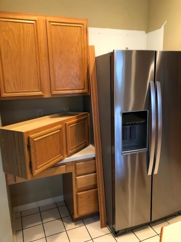 Kitchen Shelving Adjustment for New Refrigerator in Fishers, Hamilton County IN