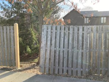 10' Tall Wooden Fence Repair - Carmel, Hamilton County, IN - Before