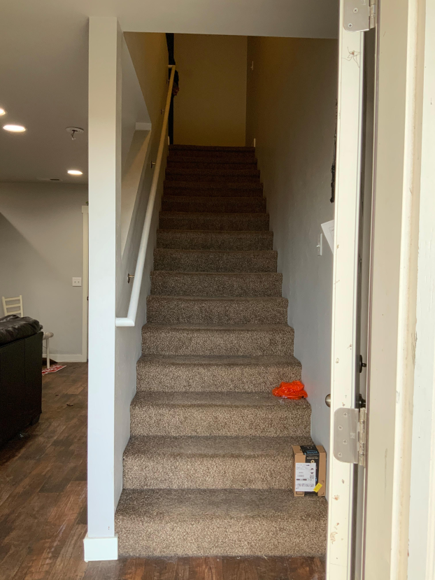 Carpeted stairs turned into LVP with matching bullnose stair treads
