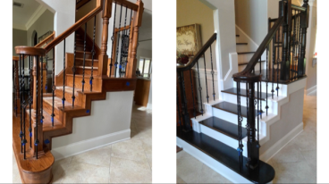 Replaced treads and refinished the entire stairs