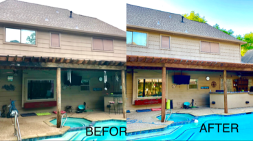 Power washed awning and stained.  Replaced rotten wood.