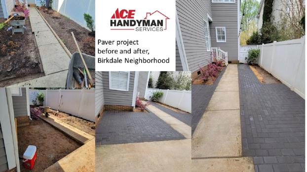 Muddy backyard walkway transformed in Birkdale with pavers and polymeric sand!
