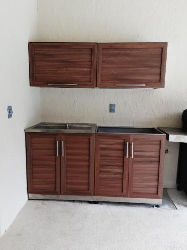 Outdoor kitchen cabinets installed (After)