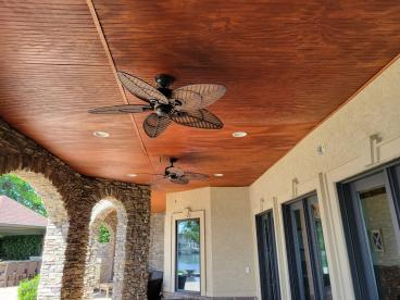 New Beadboard Ceiling - previous ceiling had a leak - all watertight now!