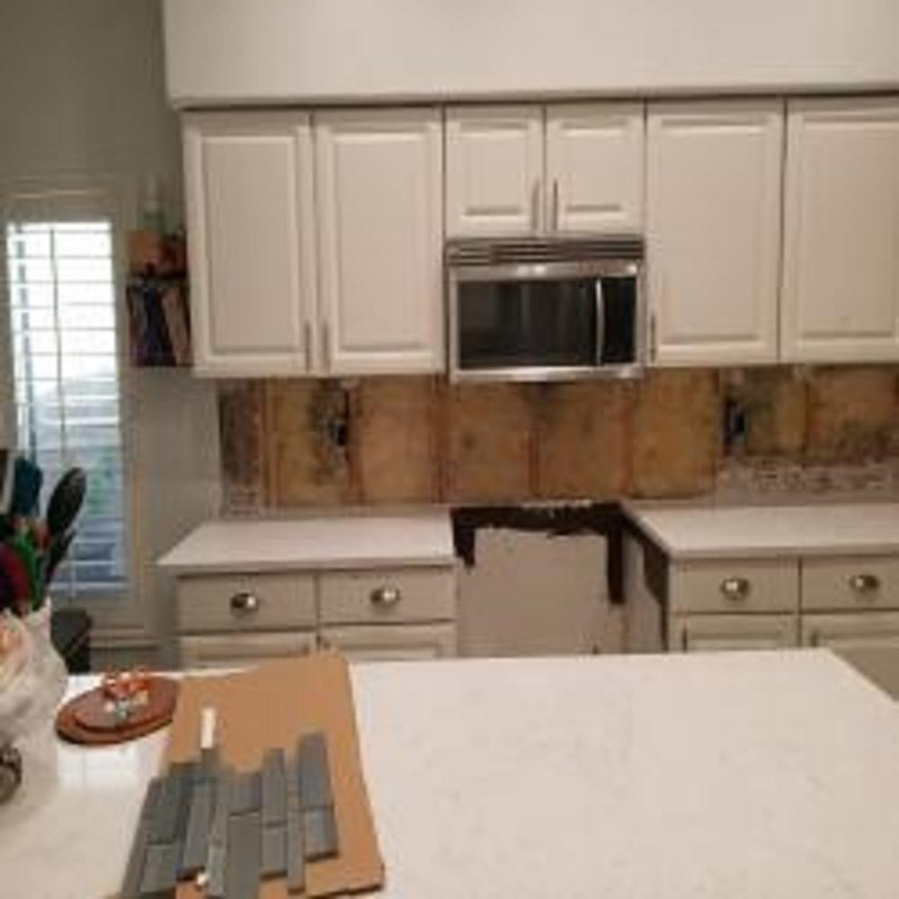 During drywall repair to backsplash are in kitchen