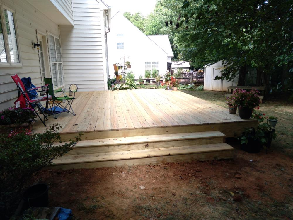 No railing deck with box steps in Mooresville