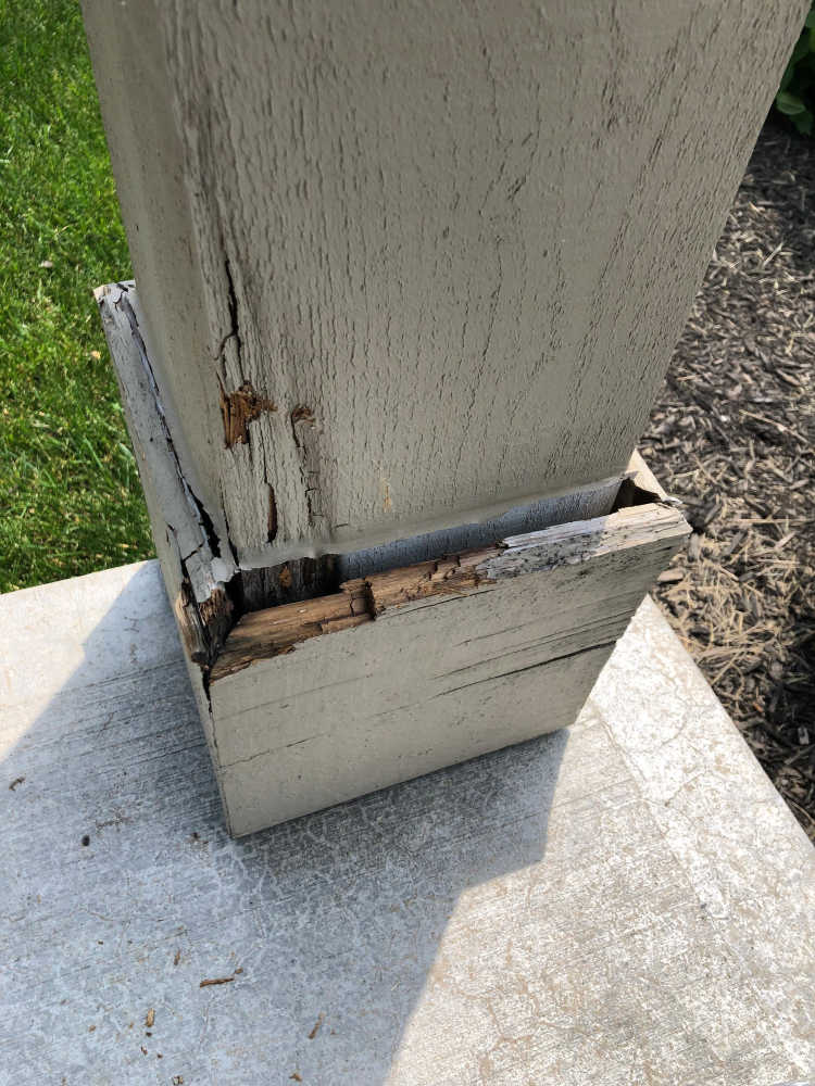 Rot from Water Damage Porch Column