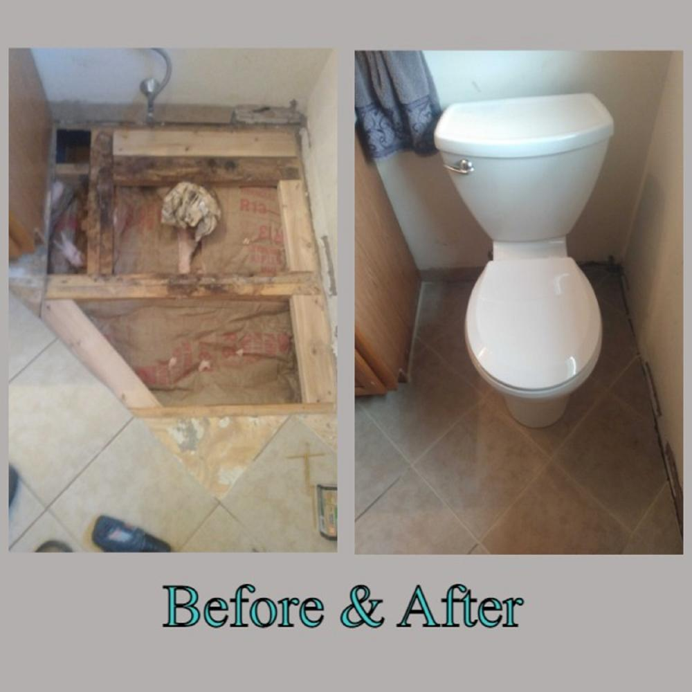 Flooring repair and toilet install