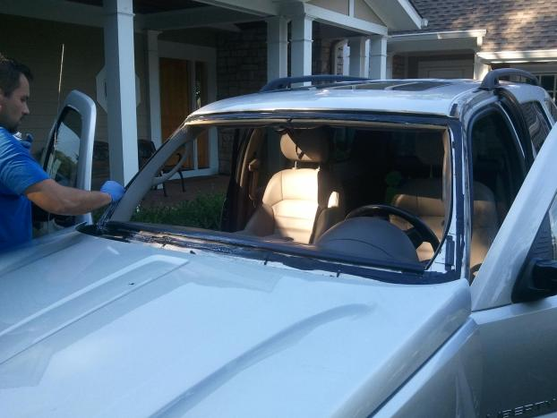 Prepping the  Jeep Liberty for a New Windshield