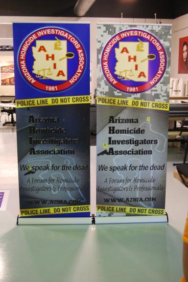 Arizona Homicide Investigators Association banner stands