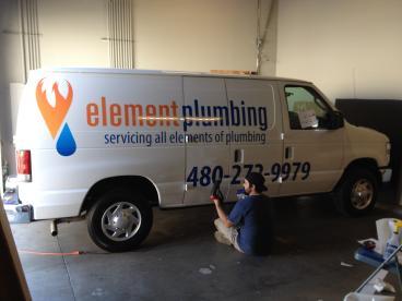 Element Plumbing - Partial Vehicle Wrap (During Installation) Tempe-Chandler Arizona