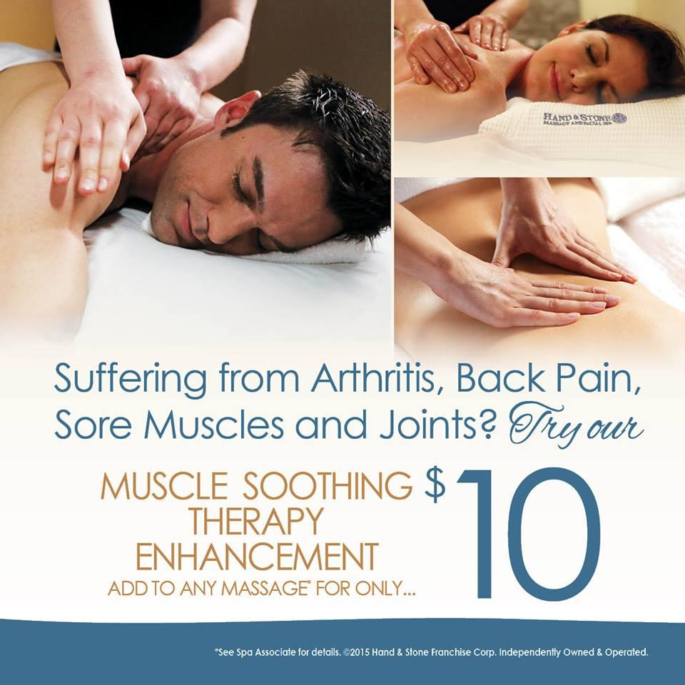 Relieve those aches and pains! Add our Muscle Soothing Therapy to your massage today!