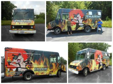 Billy Morris rocks out to his food truck printed and installed by SpeedPro Cleveland West!