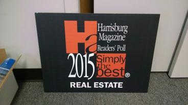Max Metal sign for Harrisburg Magazine's Simply the Best printed directly onto metal material