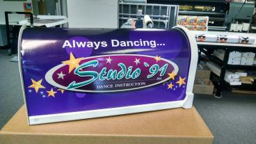 Custom vinyl mailbox we did for Studio 91'in Mechanicsburg, PA