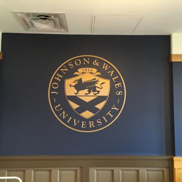 Custom Plot Cut / Brushed Gold Wall Graphic for a local university Denver, CO