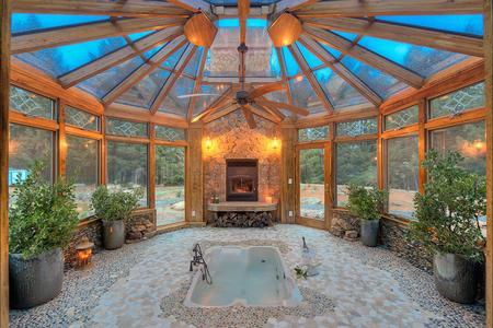 Wood Interior Glass Ceiling Conservatory