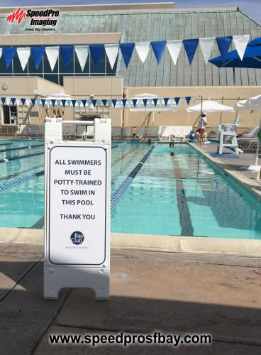 Poolside mini A-frame sign