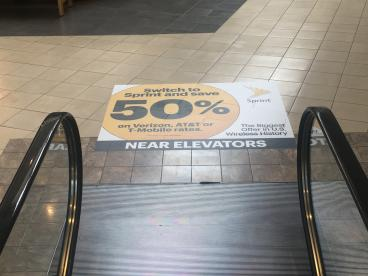 Floor graphic done for Sprint used in the Harrisburg Mall made with floor vinyl w/anit-skip laminate