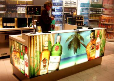 Backlit panels for a liquor store