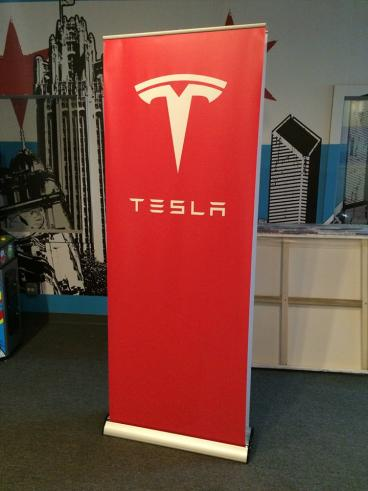 Double-sided Retractable Banner Hardware - Client: Tesla