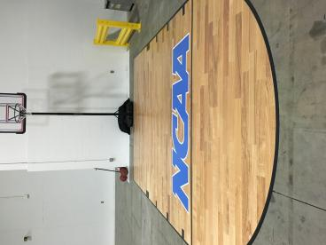 Custom basketball floor graphic for the JDK Group