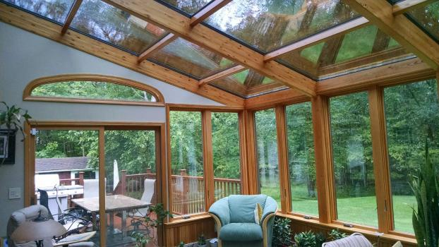 Four Seasons Sunroom System 8 Straight Eve - Wood Interior