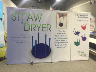 Trade show display for the Straw Dryer.  Coke Zero for scale.