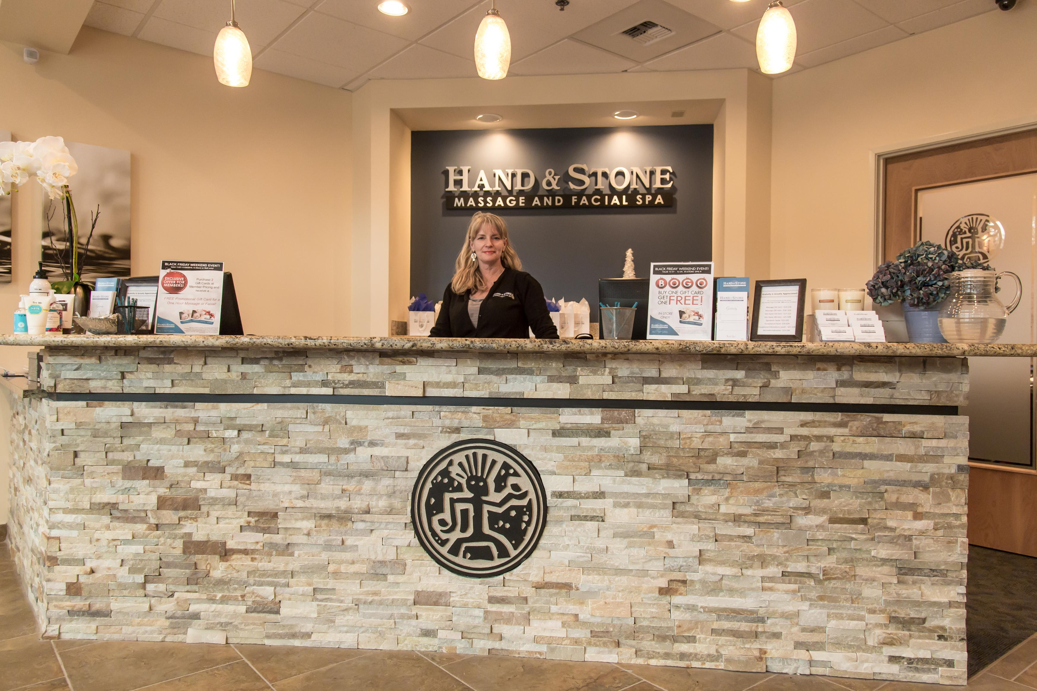 Our Reception Desk at Hand & Stone Bellevue