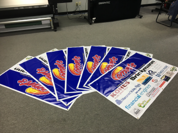 Stack of banners like a stack of cards.