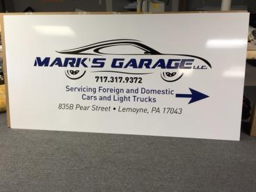 Custom Max Metal sign for Mark's Garage in Lemoyne, PA