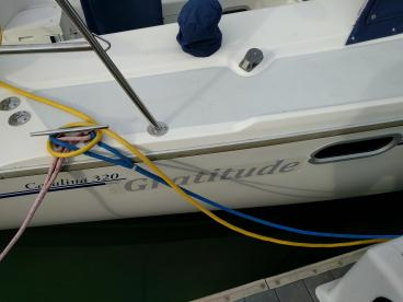 Boat lettering with the protective tape still on it for an unveiling party!