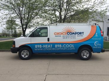 Comfort Choice Cargo Van with Vehicle Wrap and Printed Cut Reflective Vinyl