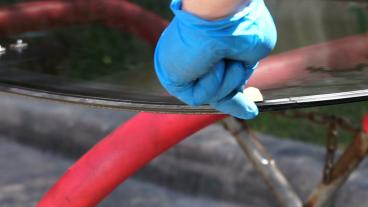 Applying primer to new windshield Thumbnail