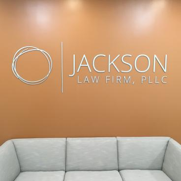 Metal Signage logo we did for Jackson Law Firm in Harrisburg